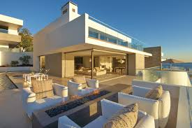 outdoor fireplace terrace beach house in laguna beach california