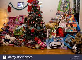 christmas tree lots of presents stock photo royalty free image