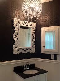 Crystal Bathroom Mirror Black And White Bathroom With Crystal Chandelier Contemporary