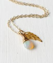 pregnancy loss jewelry gold angel wing necklace with december birthstone miscarriage