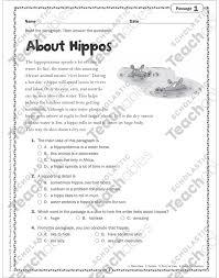 si e social hippopotamus about hippos reading passage printable texts and skills sheets