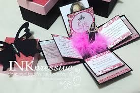 Debut Invitation Card Double Exploding Box Black Butterfly Pink Feathers And Photo