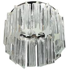 mid century modern triedre crystal and chrome flush mount