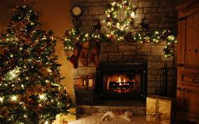 living room classy christmas decorations with stone fireplace and