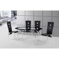 black glass kitchen table cheap birlea soho oval glass dining table set with black chairs for