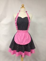french maid apron polka dot with pink by boojiboo on etsy