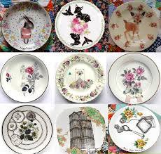drawing on vintage dishes earth