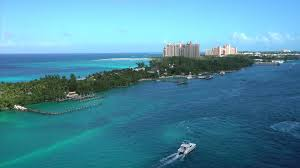 aerial view of atlantis hotel in bahamas cruise ship view stock