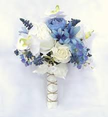 blue wedding bouquets exclusive floral designs lovely blue ivory and white silk