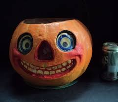 large antique paper mache halloween pumpkin jack o lantern