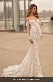 wedding dress sleeve berta sleeve illusion the shoulder mermaid gown nordstrom