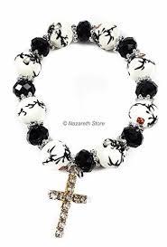 white rosary black white catholic rosary cross bracelet unisexe bangle