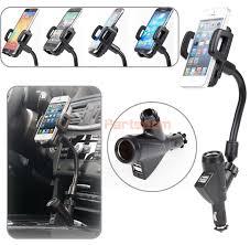 Car Phone Charger With Usb Port Dual Usb Port Cigarette Lighter Socket Car Charger Mount Holder