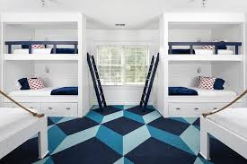 shiplap built in bunk beds with navy bunk bed ladder cottage