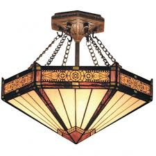 stained glass ceiling light fixtures filigree 3 light semi flush stained glass l all things tiffany