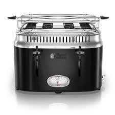 Russell Hobbs Kettle And Toaster Set Retro Style 4 Slice Toaster Black U0026 Stainless Steel Russell Hobbs