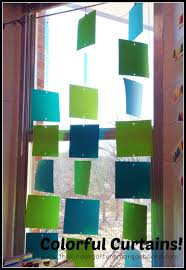 a kindergarten smorgasboard of colorful curtains the
