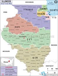 Chicago Il Map by Illinois Area Codes Map Of Illinois Area Codes