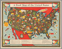 A Picture Of The Map Of The United States by A Food Map Of The United States Hist 1952