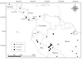 south america dot map specimen locality dot map of central america and northeast of south