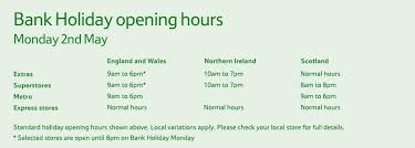 august bank opening times for sainsbury s tesco asda
