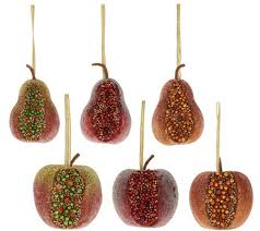 set of 6 beaded fruit ornaments by valerie page 1 qvc