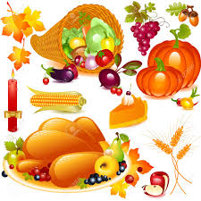 thanksgiving set cornucopia with pumpkin and other vegetables