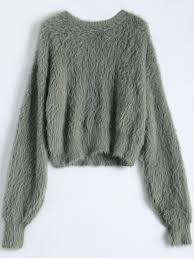 fuzzy cropped sweater army green sweaters one size zaful