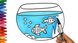 fish tank drawing and coloring how to draw and color kids tv