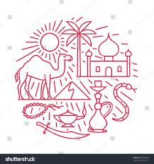 arabian desert vector outline illustration icon stock vector