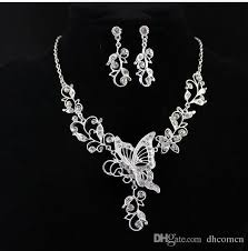 flowers with butterfly necklace images Bridal flower butterfly diamond necklace earrings dangle set jpg