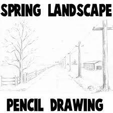 how to draw spring landscape scene in one point perspective