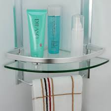 Bed Bath And Beyond Bathroom Shelves by Bathroom 2 Tier Corner Glass Shelf With Wide Rail And Towel Bar