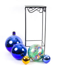 Gazing Ball And Stand Colorful Glass Gazing Ball Set With Marble Top Planter Stand Ebth