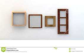different types of empty frames on a white wall stock photo