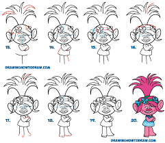 how to draw poppy from the dreamworks trolls movie easy step by
