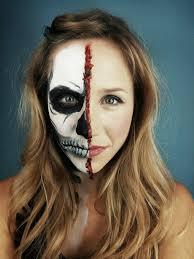 half face halloween makeup primp powder pout a make up artist u0027s life half skeleton half