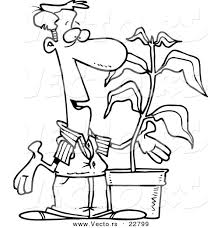 vector cartoon guy potted plant coloring