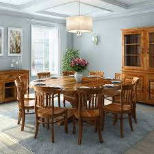 Dining Room Set Solid Wood Pedestal Base 13 Piece Round Dining Room Set