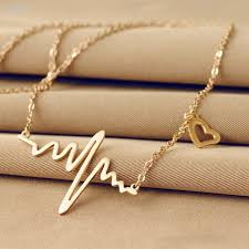 heart necklace wholesale images Eejart simple wave heart necklace heartbeat pendant necklace jpg
