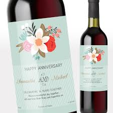 anniversary wine bottles personalised wine bottle labels vintage floral anniversary wine