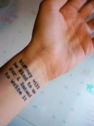 wrist qoute design of tattoosdesign of tattoos