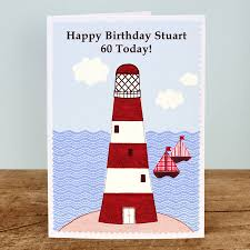 lighthouse personalised birthday card by arnott cards