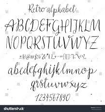 retro hand drawn alphabet script painted stock vector 398683678