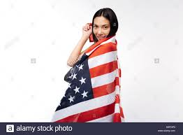 Ka Flag Young Woman Wrapped In Us Flag Stock Photos U0026 Young Woman Wrapped