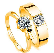 swarovski rings gold images Dc jewels gold swarovski crystal 24kt adjustable couple rings for jpg