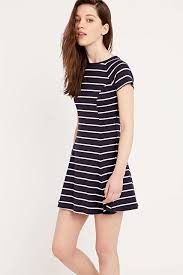 bdg jackie a line navy and white stripe dress in black lyst