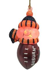 ncaa auburn tigers led lighted football snowmen ornament