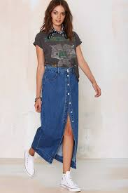 denim maxi skirt lyst glamorous of one mind denim maxi skirt in blue
