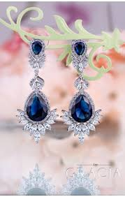 navy blue earrings myrine sapphire blue jewelry set gift navy royal blue bridal
